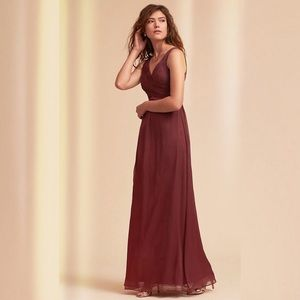 Anthropologie BHLDN Burgundy Angie Maxi Dress Sz S